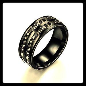 Black Gemstone Band Ring